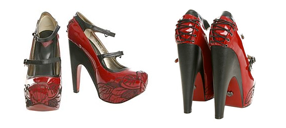 item of the week : platinum red leaf platform heels by T.U.K