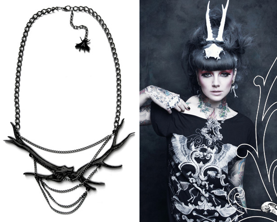 item of the week : black chained antler necklace by A is for Arsenic