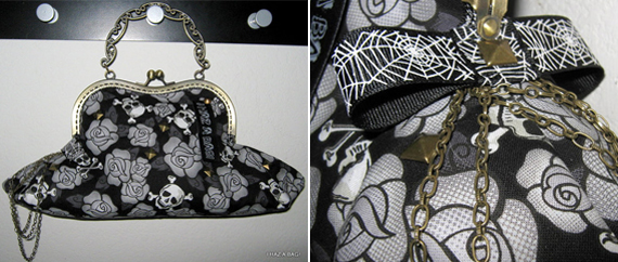 item of the week : skulls wine & roses kiss lock purse by IHazABag