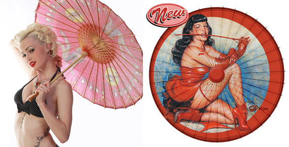 item of the week : Olivia Red Devil Bettie Page Parasol by Retro-a-go-go