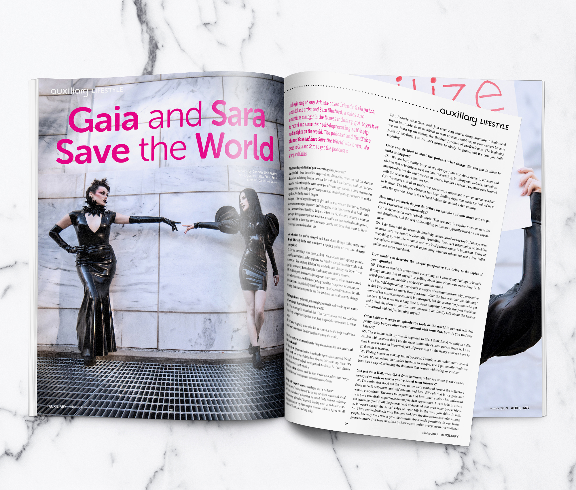 Auxiliary Magazine Winter 2019 Issue Gaia and Sara Save the World Interview Spread
