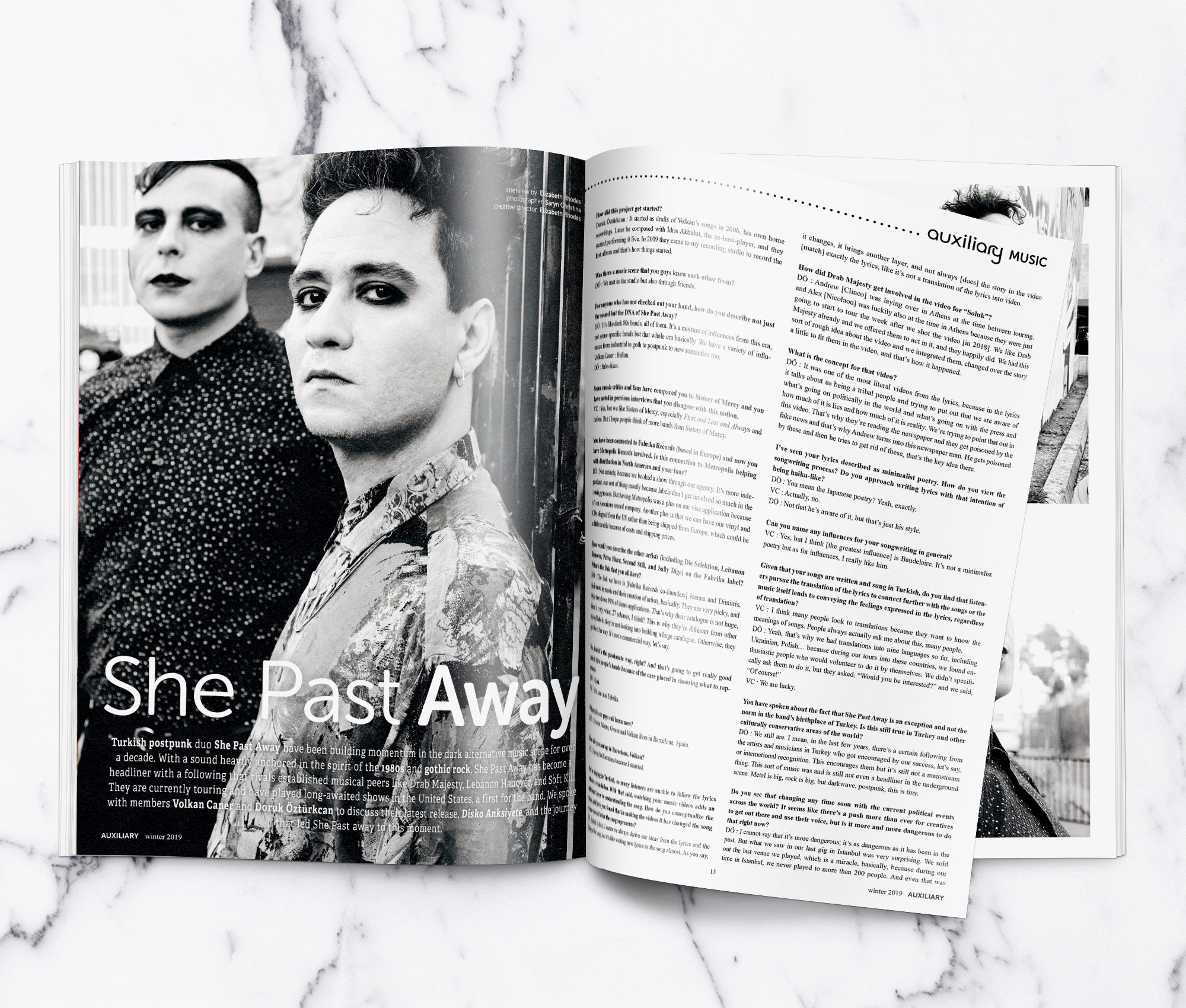 Auxiliary Magazine Winter 2019 Issue She Past Away Interview Spread